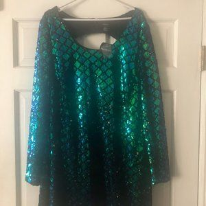 Forever 21+ Blue & Green Sequence Cocktail Dress